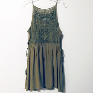 Entro Olive Green Cute Dress